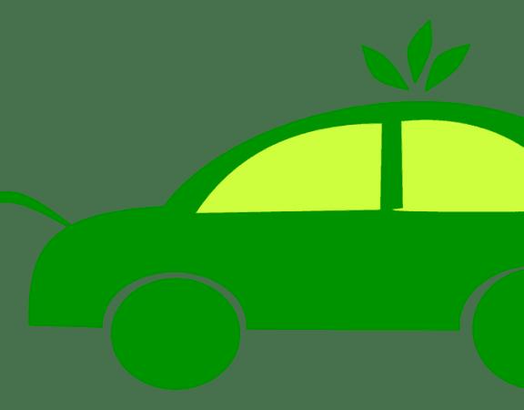 Groene elektrische auto waar een stekker uit steekt, bovenop de auto drie groene bladen