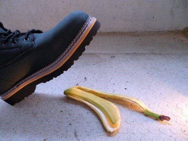 Bananenschil en letselschade en eigen schuld